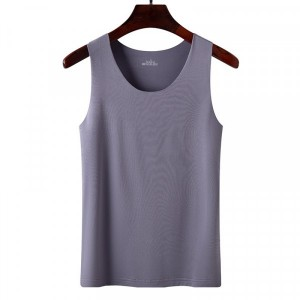 Sleeveless Round Neck Solid Color Top - Gray