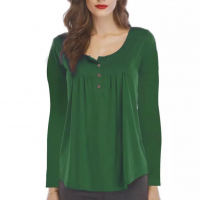Button Patched Full Sleeved Blouse Top For Women - Green