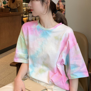 Cloudy Mesh Round Neck Loose Wear Top - Pink