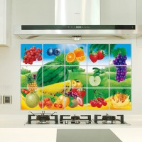 Fruit Print Temperature Resistant Anti Dirt Kitchen Protective Sheet - Light Green