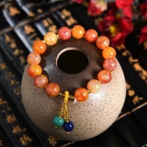 Marble Texture Spherical Beaded Bracelet - Yellow
