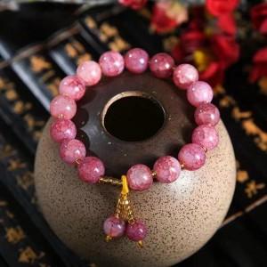 Marble Texture Spherical Beaded Bracelet - Pink
