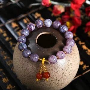 Marble Texture Spherical Beaded Bracelet - Dark Purple
