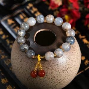 Marble Texture Spherical Beaded Bracelet - Dark Gray