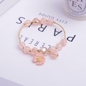 Floral Beads Decor Crystal Fashion Bracelets - Light Pink