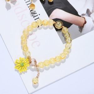 Floral Beads Decor Crystal Fashion Bracelets - Yellow