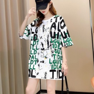 Letters Prints Loose Wear Casual Top - Green