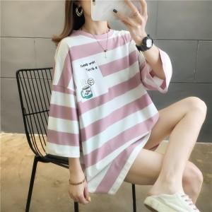 Stripes Print Loose Wear Summer Top - Pink