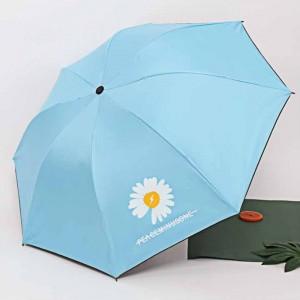 Small Daisy Three Fold Sun Protection Umbrella - Sky Blue
