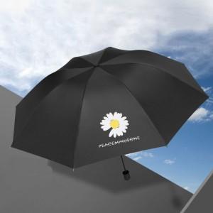 Small Daisy Three Fold Sun Protection Umbrella - Black