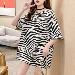 Zebra Prints Round Neck Women Fashion Top - Black and White