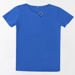 Sloping Ring Neck Summer Wear Casual T-Shirt - Blue