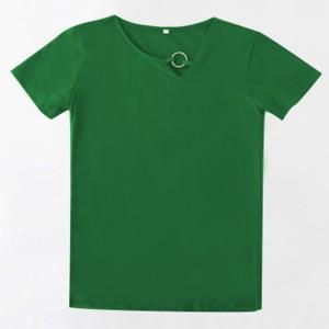 Sloping Ring Neck Summer Wear Casual T-Shirt - Dark Green