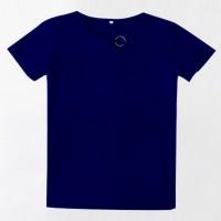 Sloping Ring Neck Summer Wear Casual T-Shirt - Dark Blue