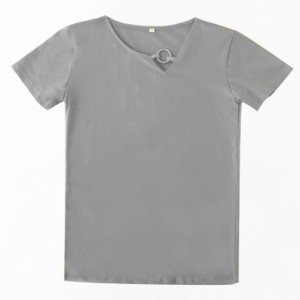 Sloping Ring Neck Summer Wear Casual T-Shirt - Gray