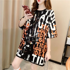 Letters Prints Loose Wear Casual Top - Black and White