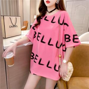 Alphabetic Print Round Neck Loose Fashion Top - Pink