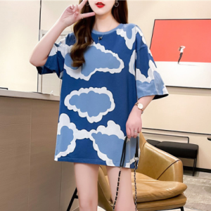 Clouds Print Round Neck Loose Fashion Top - Blue