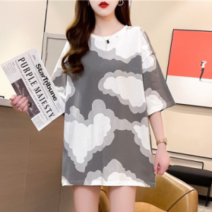 Clouds Print Round Neck Loose Fashion Top - Gray