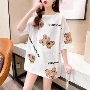Bear Prints Round Neck Loose Wear Top - White