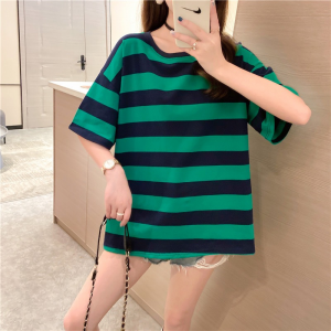 Round Neck Stripes Print Loose Casual Wear Top - Green