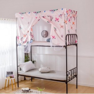 Butterfly Design Bed Curtain and Metal Frame For Upper Deck Single Bed