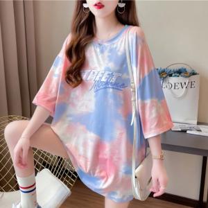 Mesh Digital Print Loose Wear Casual Top - Pink
