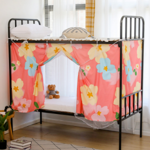 Bed Curtain For Lower Deck Single Bed Flower Design Pink Color