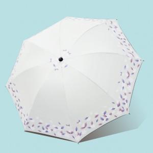 Leaf Printed Rain And Sun Protection Umbrella - White