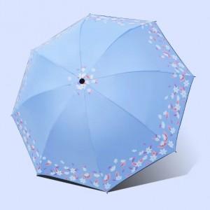 Leaf Printed Rain And Sun Protection Umbrella - Sky Blue