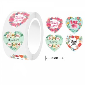 Heart Printed Thank You For Wrapping Stickers Roll