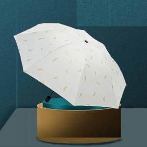 Golden Feather Printed Sun Protection Rain Umbrella - White