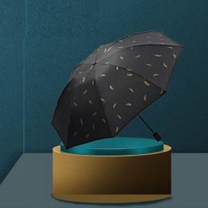Golden Feather Printed Sun Protection Rain Umbrella - Black