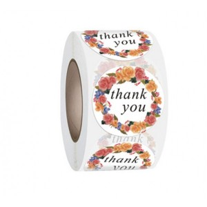 Floral Printed Thank You For Wrapping Stickers Roll