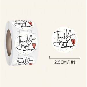 Printed Thank You For Purchase Wrapping Stickers Roll