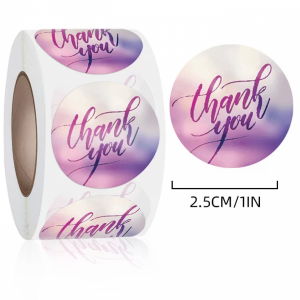 Colorful Graphic Printed Thank You Wrapping Stickers Roll
