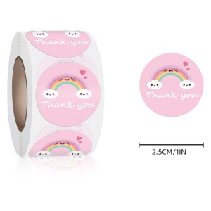 Rainbow Printed Thank You Wrapping Stickers Roll