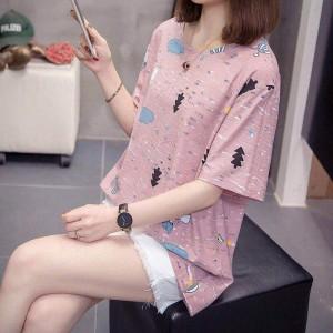 Short Sleeve Round Neck Graphic Design Women T Shirt - Pink