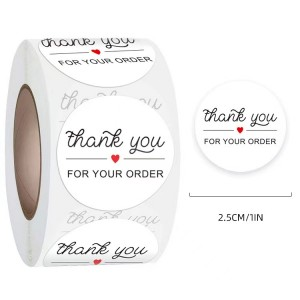 Printed Thank You Wrapping Order Stickers Roll - White