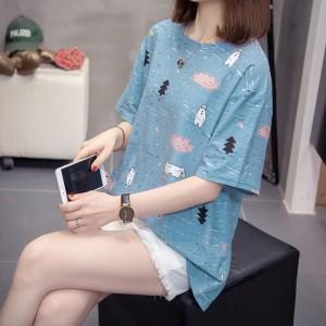 Short Sleeve Round Neck Graphic Design Women T Shirt - Blue