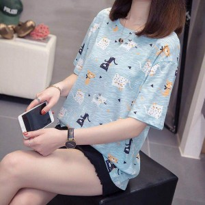 Short Sleeve Round Neck Graphic Design Women T Shirt - Light Blue