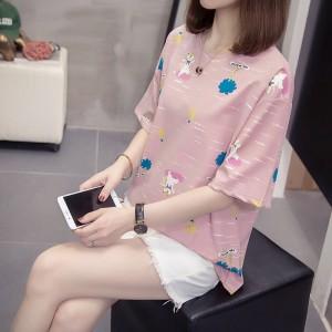 Short Sleeve Round Neck Graphic Design Women T Shirt - Light Pink