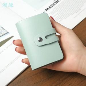 Button Closure Solid Color Mini Card Wallet - Light Green