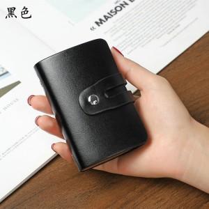 Button Closure Solid Color Mini Card Wallet - Black