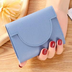 Button Closure Ultra Thin Folding Buckle Women Card Coins Wallet - Blue