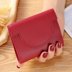 Button Closure Ultra Thin Folding Buckle Women Card Coins Wallet - Red
