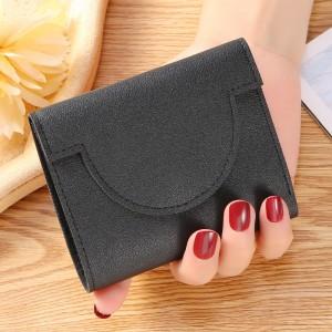 Button Closure Ultra Thin Folding Buckle Women Card Coins Wallet - Black