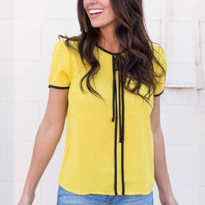 Contrast Round Neck Short Sleeves Blouse Top - Yellow