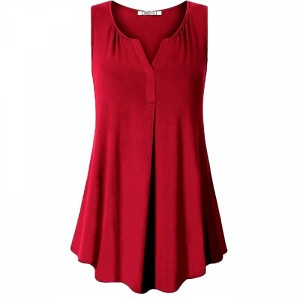 Sleeveless Pleated Solid Color Women Fashion Blouse Top - Wine Red