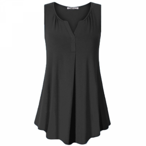 Sleeveless Pleated Solid Color Women Fashion Blouse Top - Black
